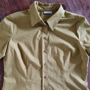 New York & Co Green Camp Shirt S/S Size L